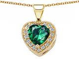 Original Star K™ 925 Simulated Heart Shaped Emerald Pendant style: 27572
