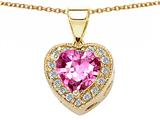 Original Star K™ 925 Created Heart Shaped Pink Sapphire Pendant