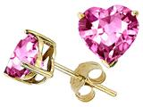 Original Star K™ Heart Created Pink Sapphire Earrings Studs style: 27811