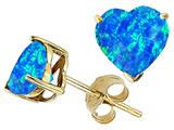 Original Star K Heart Created Blue Opal Earring Studs