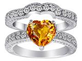 Original Star K Genuine 8mm Heart Shape Citrine Wedding Set
