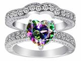 Original Star K 8mm Heart Shape Rainbow Mystic Topaz Wedding Set