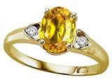 Tommaso Design Oval 8x6mm Simulated Yellow Sapphire and Diamond Ring