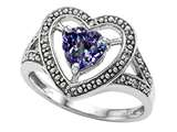 Tommaso Design Heart Shape 6mm Simulated Alexandrite and Diamond Ring