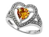 Tommaso Design Heart Shape 6mm Genuine Citrine and Diamond Ring