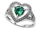 Tommaso Design Heart Shape 6mm Simulated Emerald And Diamond Ring