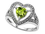 Tommaso Design Heart Shape 6mm Genuine Peridot and Diamond Ring