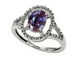 Tommaso Design Oval 8x6mm Simulated Alexandrite and Diamond Ring