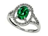 Tommaso Design Oval 8x6mm Simulated Emerald And Diamond Ring