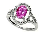 Tommaso Design Oval 8x6mm Genuine Pink Tourmaline and Diamond Ring