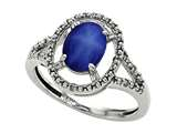 Tommaso Design Oval 8x6mm Created Star Sapphire and Diamond Ring