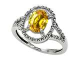 Tommaso Design™ Oval 8x6mm Simulated Yellow Sapphire and Diamond Ring style: 28688
