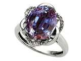 Tommaso Design Oval 12x10mm Simulated Alexandrite and Diamond Ring