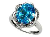 Tommaso Design Oval 12x10mm Genuine Blue Topaz and Diamond Ring
