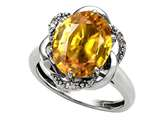 Tommaso Design™ Oval 12x10mm Genuine Citrine and Diamond Ring