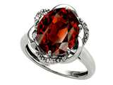 Tommaso Design Oval 12x10mm Genuine Garnet and Diamond Ring
