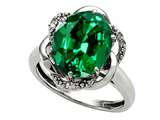 Tommaso Design Oval 12x10mm Simulated Emerald And Diamond Ring