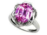 Tommaso Design™ Oval 12x10mm Simulated Pink Tourmaline And Diamond Ring