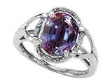 Tommaso Design Oval 10x8mm Simulated Alexandrite and Diamond Ring