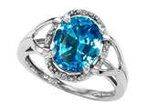 Tommaso Design Oval 10x8mm Genuine Blue Topaz and Diamond Ring