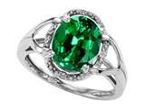 Tommaso Design Oval 10x8mm Simulated Emerald And Diamond Ring