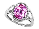 Tommaso Design Oval 10x8mm Created Pink Sapphire and Diamond Ring
