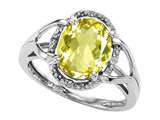 Tommaso Design™ Oval 10x8mm Genuine Lemon Quartz and Diamond Ring style: 28740