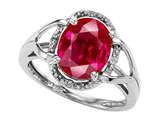 Tommaso Design Oval 10x8mm Created Ruby and Diamond Ring