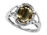 Tommaso Design Oval 10x8mm Genuine Smoky Quartz and Diamond Ring