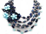 17-21 Inches Large Genuine Blue Lapis and Pearl Flower Necklace