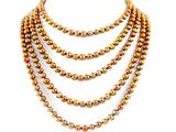 92 Inch Extra Long Genuine Coffe Brown Dyed Baroque Pearl Necklace