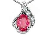 Tommaso Design™ Oval 7x5mm Genuine Pink Tourmaline and Diamond Pendant style: 300083