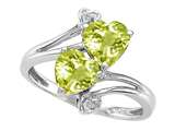 Tommaso Design™ Heart Shape 6 mm Genuine Lemon Quartz and Diamond Ring