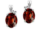 Tommaso Design Oval 8x6mm Genuine Garnet and Diamond Earrings