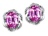 Tommaso Design Oval 8x6mm Created Pink Sapphire and Diamond Earrings
