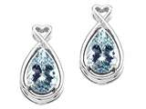 Tommaso Design™ Pear Shape 9x7mm Genuine Aquamarine and Diamond Earrings