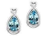 Tommaso Design Pear Shape 9x7mm Genuine Blue Topaz and Diamond Earrings