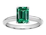Tommaso Design Octagon Cut 8x6mm Simulated Emerald Ring