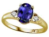 Tommaso Design Oval 8x6 mm Genuine Iolite and Diamond Ring