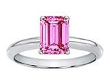Tommaso Design™ Created Pink Sapphire Emerald Cut 8x6mm Engagement Ring style: 301299