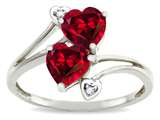 Tommaso Design Heart Shape 6 mm Created Ruby and Diamond Ring
