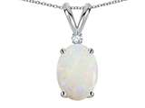 Tommaso Design Oval 7x5mm Genuine Opal and Diamond Pendant