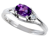 Tommaso Design™ Genuine Amethyst and Diamond Ring style: 301668