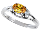 Tommaso Design™ Genuine Citrine and Diamond Ring style: 301669