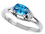 Tommaso Design™ Genuine Blue Topaz and Diamond Ring style: 301672