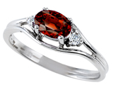 Tommaso Design Genuine Garnet and Diamond Ring