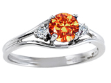 Tommaso Design™ Genuine Orange Sapphire and Diamond Ring style: 301677
