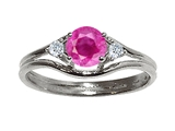 Tommaso Design Genuine Pink Sapphire and Diamond Ring