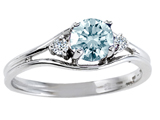 Tommaso Design™ Round Genuine Aquamarine and Diamond Ring style: 301680