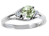 Tommaso Design™ Genuine Green Amethyst and Diamond Ring style: 301681
